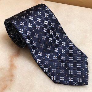 Ermenegildo Zengna Blue Square Pattern Silk Tie